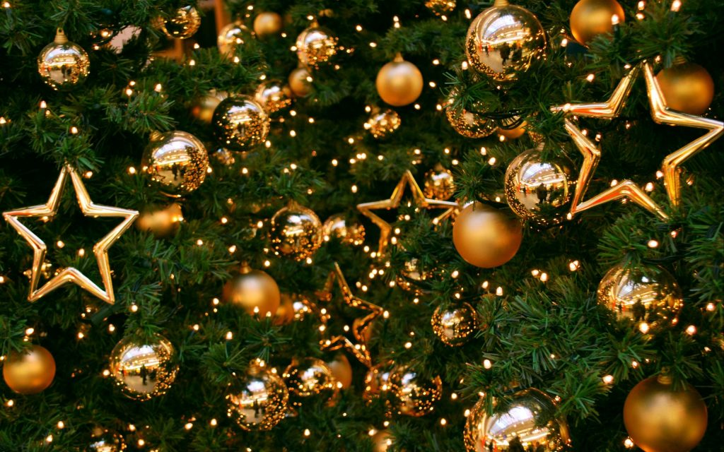 Christmas Tree with Gold decorations